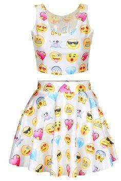 Womens Cartoon Pattern Emoji Print Crop Tank Top Skater Skirt 2 Pieces Set Dress