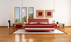 Could do pictures that look like a window behind the bed.   Bedroom:Red Bedroom Interior Design Ideas Bed Headboard Ideas Best Laminate Wood Flooring Storage Space For Small Bedrooms Bedroom Headboard Ideas Modern Bedroom Design Ideas Master Bedroom Awesome Storage Space for Small Bedrooms