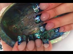 I HAVE to do this! Paua Shell Acrylic Nails