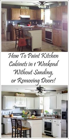 My cabinets have this feature and so this should save me some time! Paint kitchen cabinets white in one weekend without removing doors or sanding!
