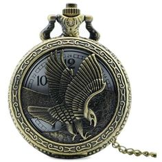 Eagle Engraved Number Vintage Pocket Watch ($5.40) ❤ liked on Polyvore featuring jewelry, watches, vintage wrist watch, engraved pocket watches, vintage watches, eagle jewelry and engraved pocket watch