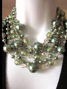 Vintage Pearl Layered Necklace Mad Men Style by JeepersKeepers