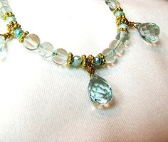 Aquamarine gemstone necklace Aqua pearl necklace by ShopPretties Love this!