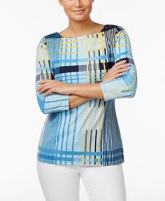 Charter Club Plaid-Print Boat-Neck Top, Only at Macy's