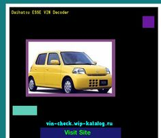Daihatsu ESSE VIN Decoder - Lookup Daihatsu ESSE VIN number. 102158 - Daihatsu. Search Daihatsu ESSE history, price and car loans.