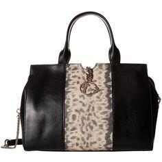 Versace Collection Animal Print Inset Satchel (Black) Satchel Handbags ($795) ❤ liked on Polyvore featuring bags, handbags, black, genuine leather satchel handbags, genuine leather handbags, leather satchel, leather handbags and structured leather handbag