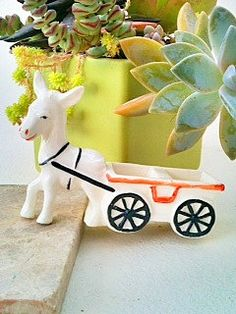 Vintage Donkey and Cart FigurineJapan  Red by CoolandBeautiful, $10.00
