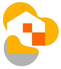 This logo design is an example of very constrained graphic communication as the imagery of the house has been reduced to simple shapes: triangles and squares. The use of solid colours also adds to the simplicity of the image. Through the gestalt principle of closure, we are able to decipher the portrayal of a house, even though the shape isn't 'closed.'