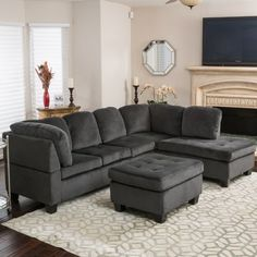 The Christopher Knight Home Canterbury fabric sectional sofa set will warm up the look of any living room, sitting room, or even your media room. Includes: One three-seat sofa, one chaise loun 3 Piece Sectional Sofa, Fabric Sectional, Sofa Set, Grey Sectional, Grey Sofas, Small Sectional, Couch Sofa, Living Room Sets, Living Room Designs