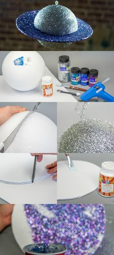 Hey guys, I have a great interactive DIY to share wit you all. I know sometime's it's hard to get kids interested in learning but this project will definitely get their attention! Today we teamed up with FloraCraft and made a beautiful DIY Glitter Saturn perfect for show and tell to help kids learn about the planets around them in a fun and oh so glittery way!