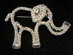"Striking Vintage 2-1/2"" Silver Tone Prong Set Rhinestone Elephant Brooch A29"