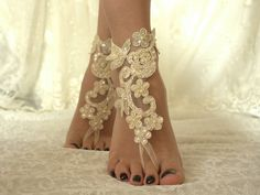 ______________Wedding Shoes____________ Beach Wedding Sandals unique design and fairytale wedding on the beach.beach shoes with champagne lace bride Champagne Wedding Shoes, Wedding Shoes Bride, Bridal Wedding Shoes, White Wedding Shoes, Lace Wedding, Lace Bride, Wedding Vintage, Garden Wedding, Barefoot Sandals Wedding
