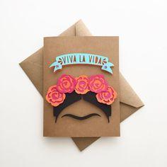 VIVA LA VIDA Frida Kahlo Handmade Card By CorazonesdePapel Stationery #CorazonesdePapel #Stationery #FridaKahlo #Kahlo