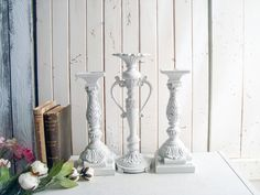 Antique White Candleholders, Shabby Chic Cream Ornate Candlestick Holders Candleholders, Candlestick Holders, Candlesticks, French Cottage Decor, Shabby Chic Cottage, Cream Decor, White Decor, Rustic Vintage Decor, Ornate Mirror