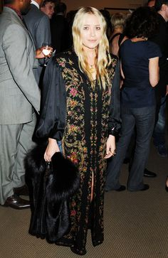 Mary-Kate Olsen wears a long boho-inspired printed tunic.
