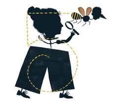 Illustration of a woman, a bee and a magnifying glass