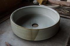 Handmade ceramic basins by Tasmanian ceramicist Lindsey Wherrett. Ceramic Tile Backsplash, Ceramic Sink, Ceramic Cups, Ceramic Pottery, Ceramic Beads, Handmade Tiles, Handmade Pottery, Handmade Ceramic, Cuba