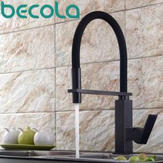 becola new design black antique brass kitchen faucet Pull Out Down Kitchen Mixer 360 Swivel Sink Tap B-9204B