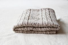 Hand Knit Merino Wool Baby Blanket  by Junikid