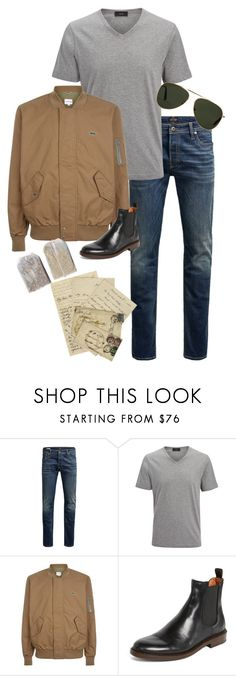 """tea: must be british"" by doe-eyes ❤ liked on Polyvore featuring Jack & Jones, Joseph, Lacoste, Frye, Oliver Goldsmith, men's fashion and menswear"