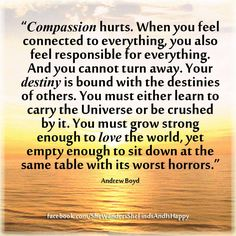 """""""#Compassion hurts. When you feel connected to everything, you also feel responsible for everything. And you cannot turn away. Your #destiny is bound with the destinies of others. You must either learn to carry the #Universe or be crushed by it. You must grow strong enough to love the world, yet empty enough to sit down at the same table with its worst horrors.""""   Andrew #Boyd  #quote"""