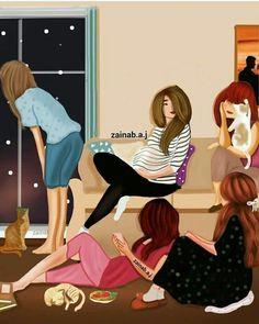 Girly M, Sad Girl Art, Anime Art Girl, Best Friend Drawings, Girly Drawings, Friend Cartoon, Girl Cartoon, Lovely Girl Image, Girls Image