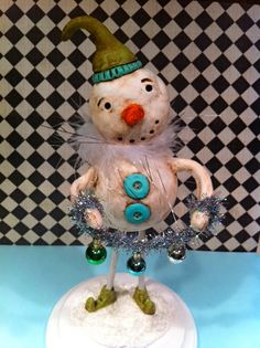 Handmade Paper Clay Christmas Snowman sculpture - Folk Art. $70.00, via Etsy.
