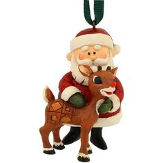 Rudolph the Red Nosed Reindeer Rudolph with Reins and Brass Bells Light up Hanging Ornament 4-1/4-Inch by Jim Shore Rudolph Traditions