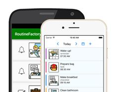 App on phone and tablet offers a day schedule + checklists with images, colors, instruction and speech