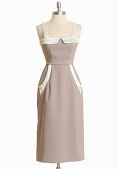 Angel Satiny Buttoned Dress By Queen Of Heartz In Taupe    This would be SO pin-uo
