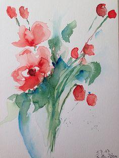 ORIGINAL AQUARELL Blumenstrauß Blumen Bild Aquarellmalerei
