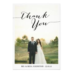 Shop Chic Photo Wedding Thank You Cards created by AllyJCat. Custom Thank You Cards, Wedding Thank You Cards, Wedding Stationary, Wedding Invitations, Wedding Thanks, Best Wedding Colors, Country Barn Weddings, Thanks Card, Announcement Cards