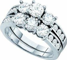 Gold and Diamonds GC2850-W 2.00CT-DIA 3-STONE BRIDAL SET- Size 7 - http://www.wonderfulworldofjewelry.com/jewelry/wedding-anniversary/gold-and-diamonds-gc2850w-200ctdia-3stone-bridal-set-size-7-ca/ - Your First Choice for Jewelry and Jewellery Accessories