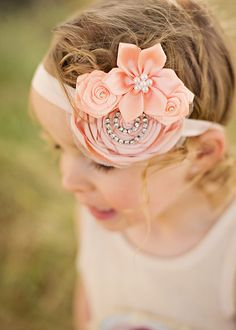 fabric flowers and rhinestone chain ... LOVE it!