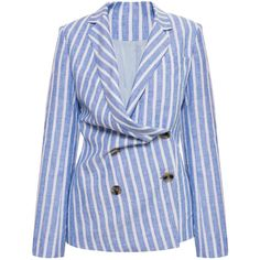 Anna October Asymmetrical Linen Blazer Jacket (1.880 BRL) ❤ liked on Polyvore featuring outerwear, jackets, blazers, blazer, co-ords, stripe, asymmetrical blazer, blue linen blazer, double-breasted blazer and one-button blazers