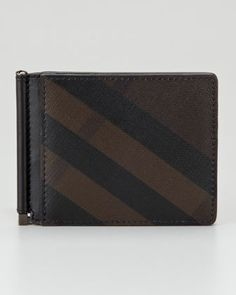 Smoked Check Leather Money Clip Wallet by Burberry at Neiman Marcus.