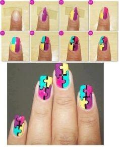 Erg leuk bedacht, puzzel-nagels :) Gevonden op Weheartit
