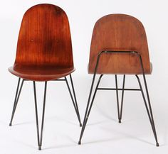 Enzo Strada; Molded Plywood and Enameled Metal Chairs for Mobili Barovero, 1950s.