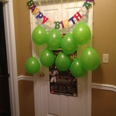 Something to wake up to on your Birthday! A curtain of balloons!