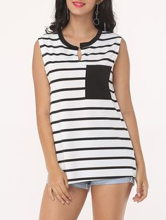 Striped Pockets Asymmetrical Hems Classical Round Neck Sleeveless-t-shirts