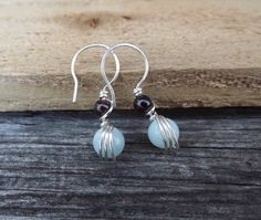 Amazonite and garnet petite wire wrapped earrings free by Amayeli, $18.00