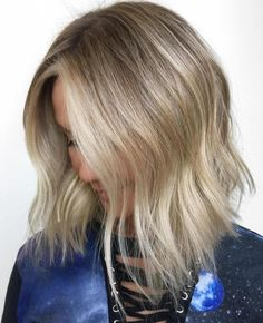 Choppy Blonde Balayage Lob