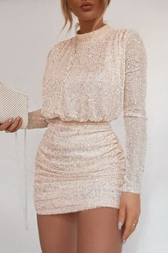 Order the Fashion Influx Cream Sequin High Neck Open Back Mini Dress from In The Style. Dressy Outfits, Mode Outfits, Chic Outfits, Casual Dresses, Short Dresses, Fashion Dresses, Formal Dresses, High Neck Formal Dress, Outfits Fiesta