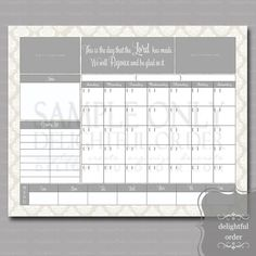 16x20 Tan Damask Calendar Message Center JPEG by DelightfulOrder