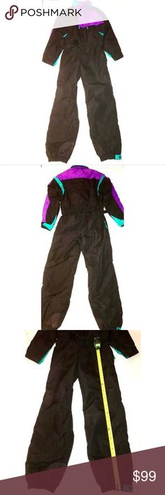 Vintage 80's/90's Columbia One-Piece Ski Suit Vintage 80's/90's Columbia Men's Medium One-Piece Ski Suit, Bib, Snowsuit  Color: Mostly Black with Purple areas, Green Zippers  Size: Men's Medium  Fabric: Nylon  Made: China  In Good Condition. Zippers & Buttons work. No stains or rips on the suit. See all pics for measurements (some pics need to be zoomed in to see). *Measurements are taken when suit is lying flat* Columbia Jackets & Coats Ski & Snowboard