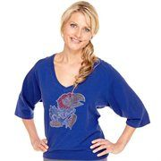 Kansas Jayhawks Ladies Jewel Fashion V-Neck Top - Royal Blue