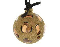 seltene Weihnachtskugeln 3 Stck Leopard echt Glas goldfarben Glitter - Neuwertig