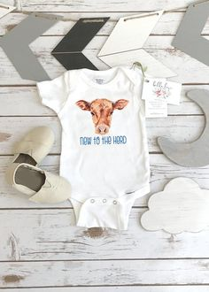 Baby shower gift, new to the herd, country baby, farm shirt, cowboy Trendy Baby, Stylish Baby, Country Boys, Country Babies, Western Babies, Country Shirts, Christmas Onesie, Christmas Gifts, Funny Christmas