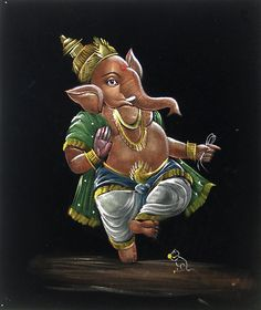 Lord Ganesha is the god of success and who alleviates the hurdles of His devotees. Shri Ganesh, Ganesha Art, Lord Ganesha, Lord Shiva, Dancing Ganesha, Velvet Painting, Ganesha Painting, Hindus, Art Sketches