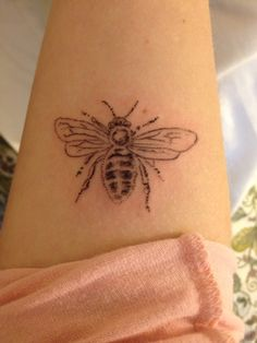 """New ink! Worker honeybee on right forearm by elbow crease. It represents for me a simple lifestyle, and that no matter how small I may seem, I am a part of something. I am a part of the """"Hive"""" that is God's kingdom and the work I do is all for Him. #Tattoos #Honeybee"""